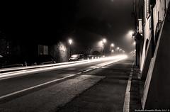Lights, Fog, Night (Nicholas Rossetto) Tags: lights streetlights luci lampioni nebbia fog notte night long exposure padova padua nicholasrossetto nikon d7100 18140mm blackwhite bianconero black nero bianco white monochrome