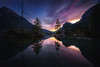 Hintersee sunset (kaihornung-photography) Tags: hintersee berchtesgaden bayern bavaria lake lakescape twilight sunset sunrise clouds longexposure mountain mountains trees rocks reflection spiegelung