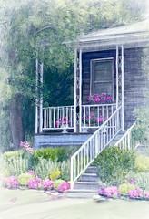 Welcome Home (Terry Pellmar) Tags: texture digitalart digitalpainting flintstonemd house flowers porch trees