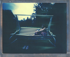 8x10 For Relaxing Times (sycamoretrees) Tags: 8x10 8x10pinhole analog color8x10 color8x10201510 film girl impossible instantfilm integralfilm largeformat marianrainerharbach polaroid relaxed swing woman