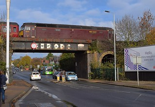 West Coast Rail Class 47, 47746 'Chris Fudge' on the tail end of the Flying Scotsman tour from Norwich to Norwich, via Westerfield, crossing the 'Ferodo' Bridge over Norwich Road, Ipswich. 11 11 2017