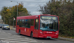Not In Service (M C Smith) Tags: bus red singledeck pentax k3 letters numbers symbols trees green sky blue clouds white powerlines busstop busshelter weeds grass pavement kerb lines lamp leaves black traffic telegraphpole