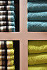 Towel Towers (AKamera Photography) Tags: abstract towels st jean dluz france yellow pink turquoise cross folded neatly