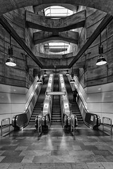 U4 (laga2001) Tags: underground subway metro person public transport black white bw monochrome architecture light shadow contrast canon vienna austria city urban escalator staircase stairs modern contemporary