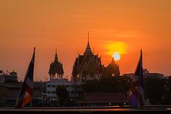 bangkok scape (Flutechill) Tags: architecture bangkok thailand buddhism wat famousplace sunset asia cultures night buddha pagoda travel cityscape dusk history templebuilding tourism palace buildingexterior