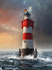 """Lighthouse """"Roter Sand"""" Sunset (Photothomas85) Tags: photoshop artwork oil digital lighthouse germany northsea ocean sea clouds sunset composing water maritim"""