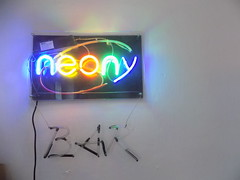 Neon Sign on the Wall (reklamy-AREK) Tags: neon sign light colour wall asymmetric bar tube glass smile saturday made smileonsaturday madeofglass