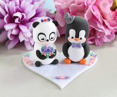 Panda and Penguin wedding cake toppers - orchid purple, wildberry pink (PassionArte) Tags: bride groom etsy handmade personalized custom order customized pink purple burgundy wine red navy blue unique cute clay wedding weddingcaketoppers weddingcaketopper cake caketopper black white figurines animals matrimonio