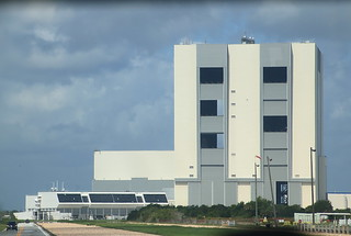 Launch Control Center (lower left) and Vehicle Assembly Building (right) - Kennedy Space Center, Florida