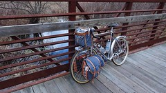 Creek under the bridge (Shu-Sin) Tags: velo shusin randonneur bicycle tour randonneuse ma ct massachusetts connecticut pioneer valley bridge rust creek panniers 650b wood plank
