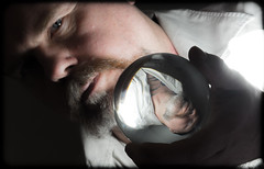 Look into my crystal ball. . . (CWhatPhotos) Tags: goatee photographs photograph pics pictures pic picture image images foto fotos photography that have which with contain mk digital camera lens micro four thirds em5 ii me man male self portrait selfee selfie mine face dark shadow studio lights shadows cwhatphotos crystal ball glass orb vision look held holding hold