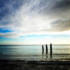 Winter evening light (rhfo2o - rick hathaway photography) Tags: rhfo2o canon canoneos7d elmer elmersands eastbeach bognorregis westsussex beach sea seaside sky clouds horizon seadefences waves square sun sunset calm