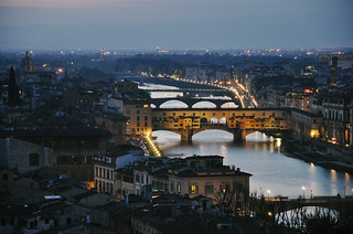 night falls over Florence
