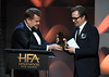 Honoree Gary Oldman (R) accepts the Hollywood Career Achievement Award from host James Corden onstage during the 21st Annual Hollywood Film Awards at The Beverly Hilton Hotel on November 5, 2017 in Beverly Hills, California. (Photo by Kevin Winter/Getty Images)