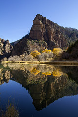 In the mirror (BDFri2012) Tags: coloradoriver mesa butte cottonwood fallcolor fallcolors fall water river trees tree landscape outdoors outside mountain bluesky mirror