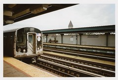 ... (Maggie J Lee) Tags: minoltaxe7 film kodak portra photography newyork newyorkcity nyc epsonv600 rokkor 24mm urban traffic commute mta infrastructure subway brooklyn kosciuszkostreet