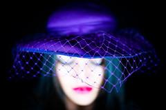 Purple hat lady (everybodyisone) Tags: hat woman girl people portrait face color purple fashion dress dof depthoffield shallow sony a7r2 35mm fe35mmf14za fe f14 za zeiss bokeh