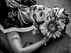LPB050491 (werephotographers) Tags: day dead halloween model face paint black white bw día de muertos high flowers pearl necklace blackandwhite contrast