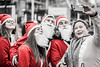 20171213_F0001: Who wouldn't want to have a Santa selfie? (wfxue) Tags: red santa hat festive christmas selfie mobile phone street people candid portrait blackandwhite bw bnw monochrome selectivecolour selectivecolouring