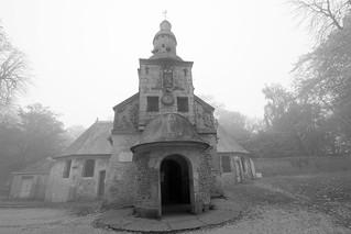 the dark gaping mouth of the chapel in the mist: fine art black & white, La Chapelle Notre-Dame-de-Grâce, Near Honfleur, Normandy, France