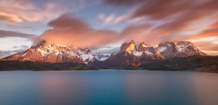 Awakening (inkasinclair) Tags: sunrise cuernos torres del paine national park mountains clouds long exposure filter lake pehoe lago water reflection glow cloud orange light sun landscape chile patagonia natural nature beauty nikon d7200 travel south america