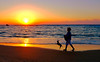 Sunset in Tel Aviv. (Monica@Boston) Tags: ngc dog walking israel telaviv outdoors water ocean beautiful beach people sunset