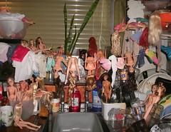 Keeping busy... (skipscales) Tags: fashion dolls fashiondoll barbie francie princess disney kitchen restoration hair