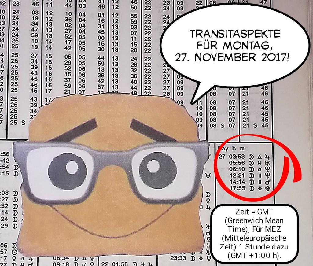Ephemeriden für Montag, 27.11.2017