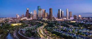 Houston Skyline at Twilight Pano