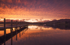 Fire Lake (Captain Nikon) Tags: jetty sundown windermere lakewindermere cumbria thelakedistrict lakedistrict nationalpark moody yachts boats tranquility serenity magical landscapephotography landscapes england greatbritain unitedkingdom mountains reflections ablaze ribbonlake