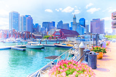 Summer on Boston's waterfront. (brooksbos) Tags: architecture brooksbos boston brooks cybershot city dscrx100m2 geotagged massachusetts newengland rx100m2 rx100 sony summer skyline water waterfront