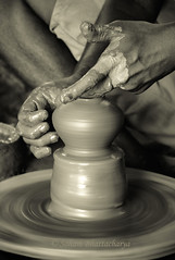 Creative Motion (Soham.) Tags: art clay pot creation bw life india nikon d7000