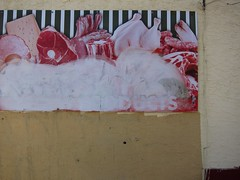 7. Fleischhimmel / Meatpie in the Sky (bartholmy) Tags: philadelphia pa pointbreeze meatmarket fleischerei metzgerei werbung reklame schild sign meat fleisch buffing graffiti tag hähnchen chicken käse cheese rippchen ribs wand wall putz plaster defaced
