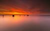 The silence... (marcolemos71) Tags: seascape tagusriver water hightide sunrise dusk pier birds burningsky clouds steel minimalism longexposure leefilters lisbon marcolemos