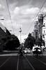 Berlin Rollin' (Karim Tarhbalouti) Tags: berlin fernsehturm germany allee tramlines bike city europe capital bw cityscape street