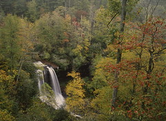Dry Falls (645 film version) (baro-nite) Tags: westernnorthcarolina cullasajariver nantahalanationalforest fallcolor mediumformat film e6 fujifilm velvia rvp50 pentax 645n smcpentaxfa64513535mm epsonv700 affinityphoto