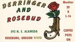 Derringer & Rosebud  - Roseburg, Oregon (73sand88s by Cardboard America) Tags: qsl qslcard cbradio cb vintage flower oregon gun
