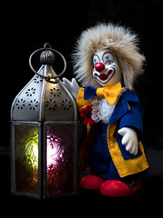 Bo-Bo sees the light! (susie2778) Tags: olympus omdem1mkii studio flash 25mmf14 clown lamp light softbox speedlight leicadgsummilux25f14