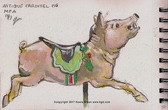 Carousel pig watercolor painting sketch (Howie Green) Tags: carousel pig watercolor painting sketch museum fine arts boston sketchbook