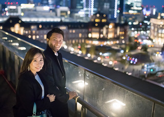 Young couple dating in Tokyo at night