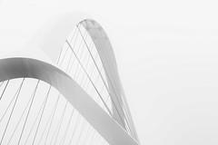 White bridge (Maerten Prins) Tags: netherlands nederland holland nijmegen bridge oversteek waal curve white fork gate crossing line lines monochrome highkey soft mist fog