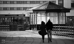 """People walking above"" (alundisleyimages@gmail.com) Tags: newbrighton winter victorianshelter people wirral mono blackandwhite coastaltown seasideresort merseyside marinelake weather"