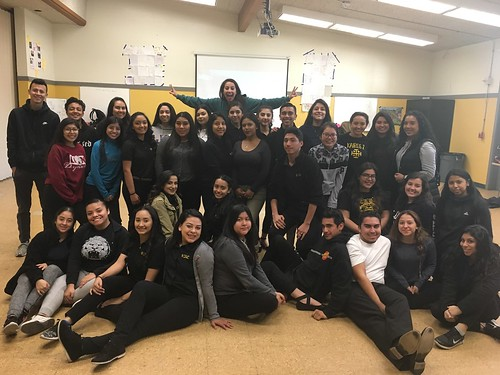 Teacher Yaya Morales with her students at Cristo Rey High School in San Jose