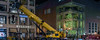 subway construction pauses for the shopping season (pbo31) Tags: sanfrancisco california night dark black nikon d810 november 2017 boury pbo31 fall color christmas holidays season shopping unionsquare retail tree construction subway stocktonstreet panoramic large stitched panorama crane yellow