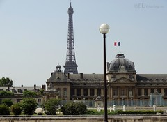The Eiffel Tower above Ecole Militaire