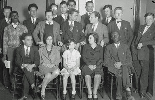 Interracial dance sponsors pose for photograph: 1929