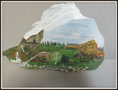 Amazing painting on this rock by a good friend who is 84 years of age. (clickclique) Tags: rock painting falls flowers grass sky clouds scene scenic trees birch spruce inexplore