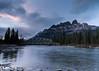 Castle Mountain at Sunset (ihoskins57) Tags: castlemountain ©nigelhoskinsphotography sunset river alberta mountains canada bowriver water improvementdistrictno9 ca