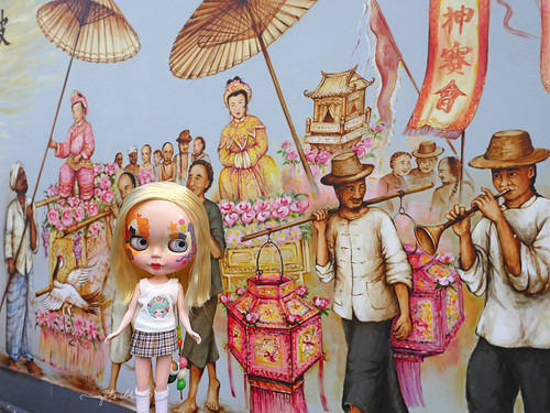 Pioneers Trail, Singapore - Thian Hock Keng temple mural of the procession to welcome Mazu