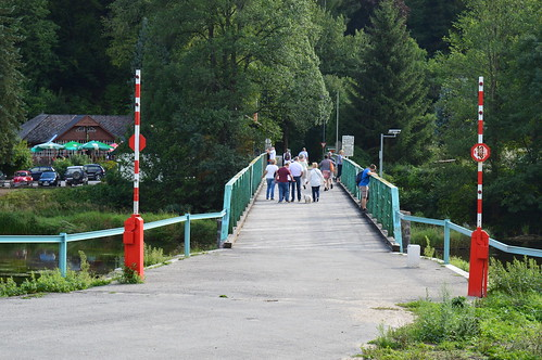 River Dyje in Hardegg is a state border between Czechia and Austria.
